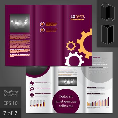 vector sample: Purple vector brochure template design with mechanism