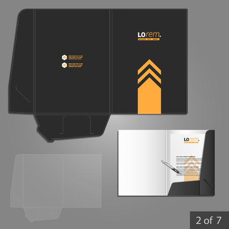 folder with documents: Black folder template design for company with yellow arrow. Element of stationery.
