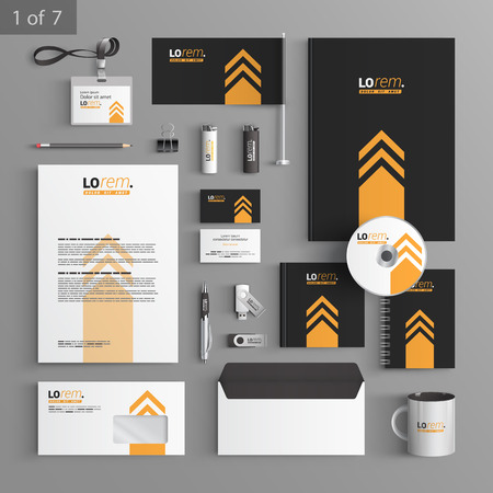 documentation: Black stationery template design with yellow arrow. Documentation for business.