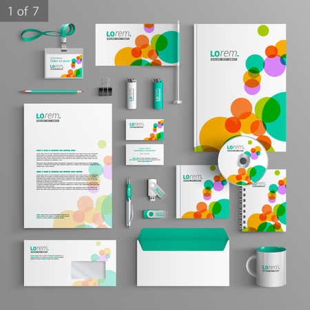 documentation: Colorful stationery template design with art round elements. Documentation for business. Illustration