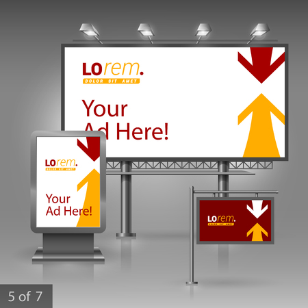 ad board: Red outdoor advertising design for company with yellow and white arrows. Elements of stationery.