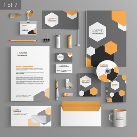 documentation: Gray stationery template design with geometric elements. Documentation for business. Illustration