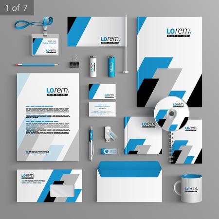 Diseño de la plantilla de papelería geométrico con formas diagonales cuadrados negros y azules. Documentación para los negocios. Vectores