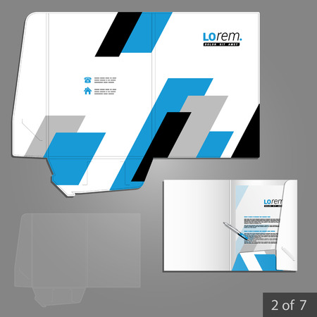 diagonal  square: Geometric folder template design for company with black and blue square diagonal shapes. Element of stationery.