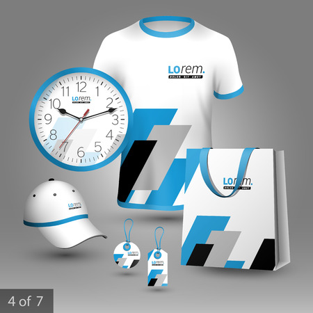 diagonal  square: Geometric promotional souvenirs design for company with black and blue square diagonal shapes. Elements of stationery.