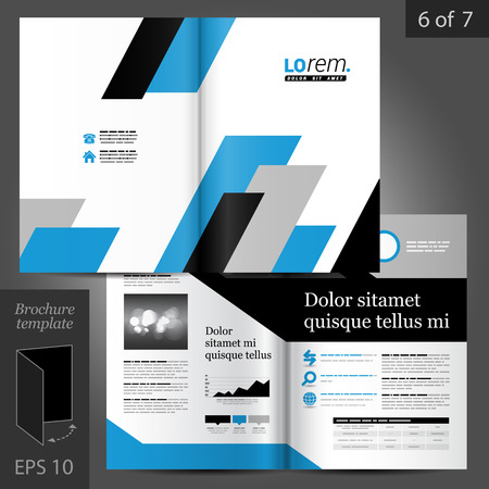 booklet: Geometric vector brochure template design with black and blue square diagonal shapes Illustration