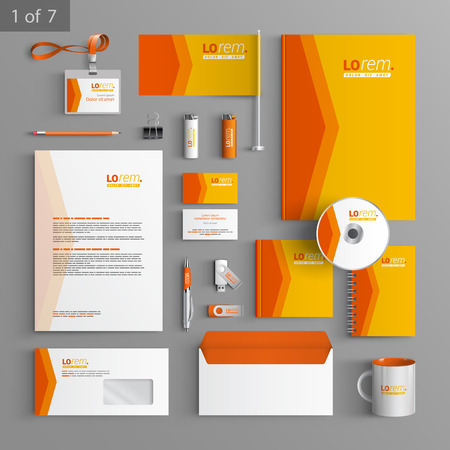 Orange stationery template design with red arrow. Documentation for business. Illustration