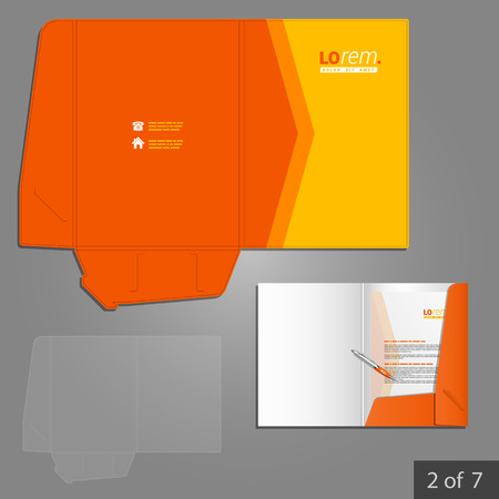 orange folder template design for company with red arrow element