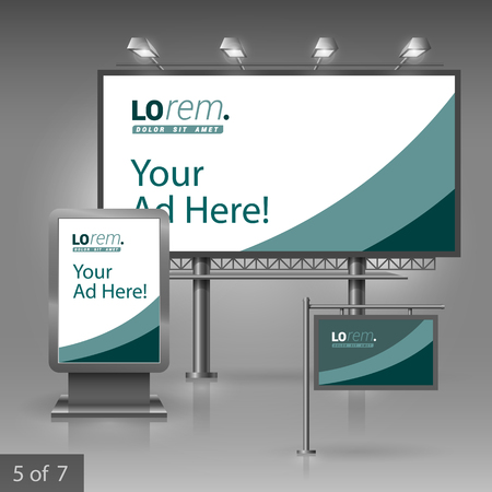 commercial sign: Green outdoor advertising design for company with lines. Elements of stationery. Illustration