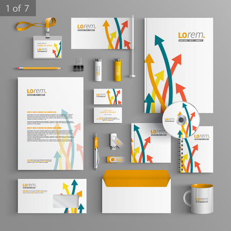 corporate identity template: White stationery template design with color arrows. Documentation for business.