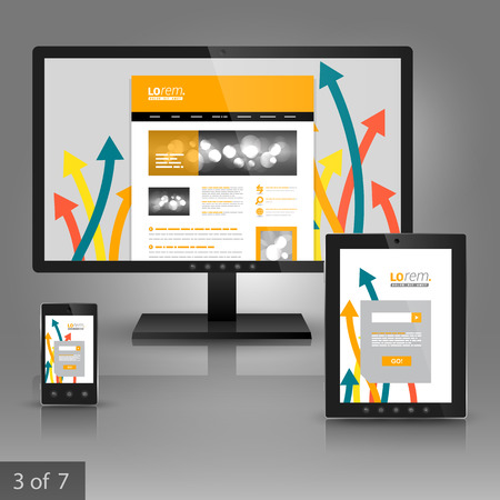 ad: White application template design for gadgets with color arrows. Elements of stationery.