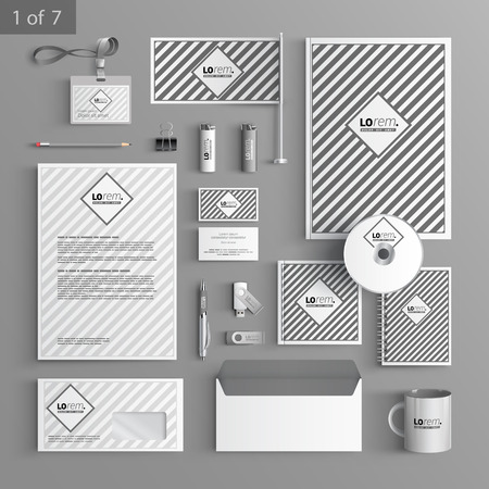 documentation: Classic stationery template design with striped pattern. Documentation for business. Illustration