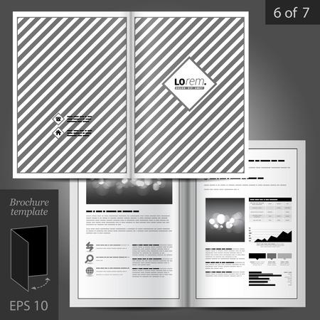 folleto: Diseño vectorial plantilla de folleto clásico con patrón de rayas Vectores