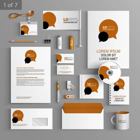 dialogue: White stationery template design with brown and black dialog clouds. Documentation for business.