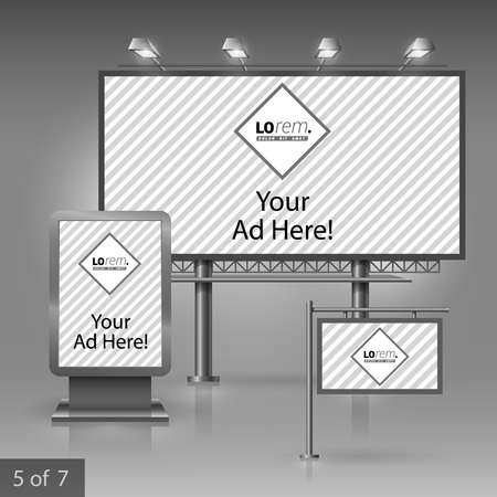 outdoor advertising: Classic outdoor advertising design for company with striped pattern. Elements of stationery.