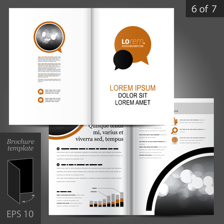 brochure template: White vector brochure template design with brown and black dialog clouds