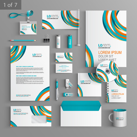 stationery: Colorful stationery template design with art round lines. Documentation for business.