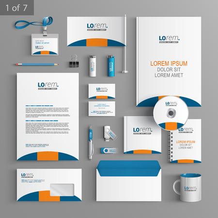 Klassieke witte kantoorbehoeftenmalplaatje ontwerp met blauwe en oranje ronde vorm. Documentatie voor het bedrijfsleven. Stock Illustratie