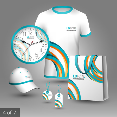 corporate identity template: Colorful promotional souvenirs design for company with lines. Elements of stationery.