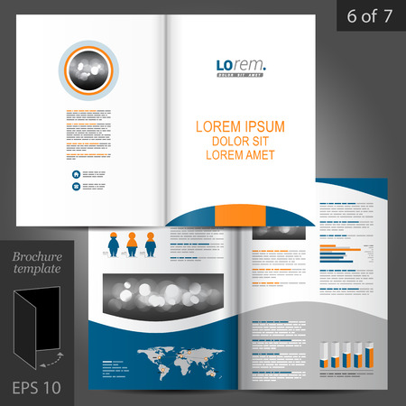 flyer background: Classic white vector brochure template design with blue and orange round shape