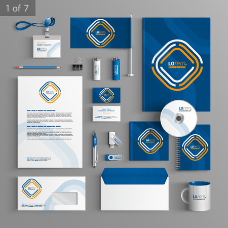 Blue corporate identity template design with white and yellow geometric elements. Business stationery Ilustrace