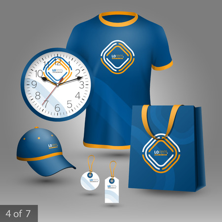 souvenir: Blue promotional souvenirs design for corporate identity with white and yellow geometric elements. Stationery set