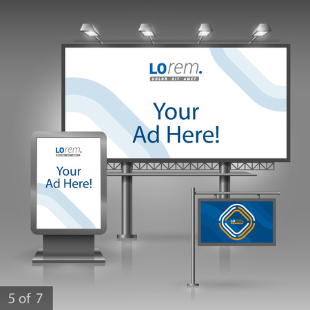 publicity: Blue outdoor advertising design for corporate identity with white and yellow geometric elements. Stationery set