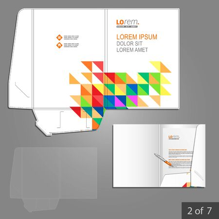 corporate identity template: White folder template design for corporate identity with color triangles. Stationery set