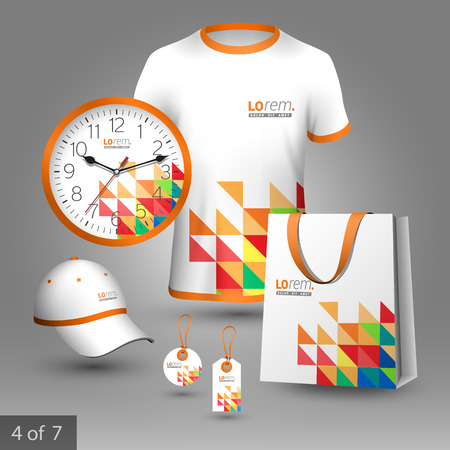 souvenirs: White promotional souvenirs design for corporate identity with color triangles. Stationery set Illustration
