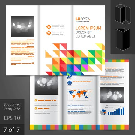 catalog templates: White brochure template design with color triangles. Cover layout