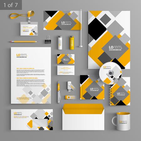 회색과 노란색 기하학적 요소와 흰색, 기업의 정체성 템플릿 디자인입니다. 비즈니스 문구 일러스트