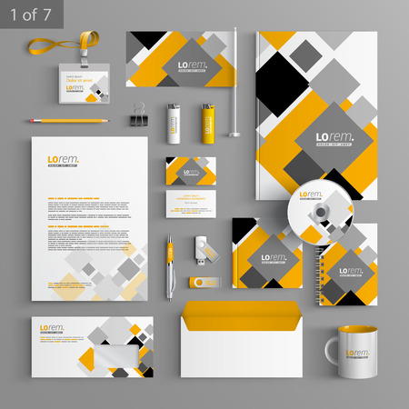 White corporate identity template design with gray and yellow geometric elements. Business stationery