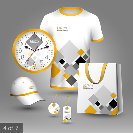 souvenirs: White promotional souvenirs design for corporate identity with gray and yellow geometric elements. Stationery set