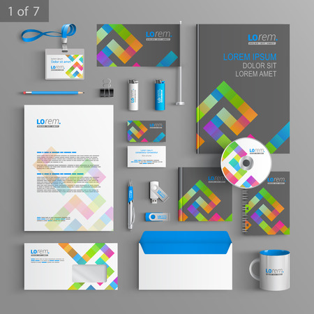 Gray corporate identity template design with color geometric pattern. Business stationery Ilustrace