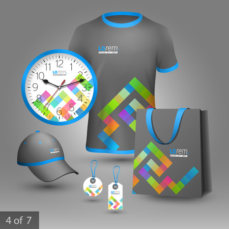 souvenir: Gray promotional souvenirs design for corporate identity with color geometric pattern. Stationery set