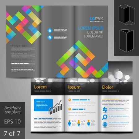 layout design template: Gray brochure template design with color geometric pattern. Cover layout Illustration