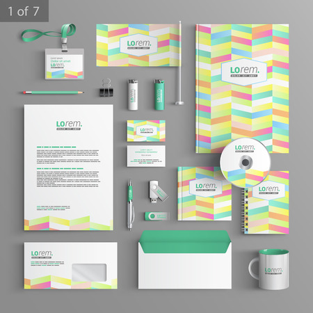 corporate identity template: Color corporate identity template design with geometric pattern. Business stationery