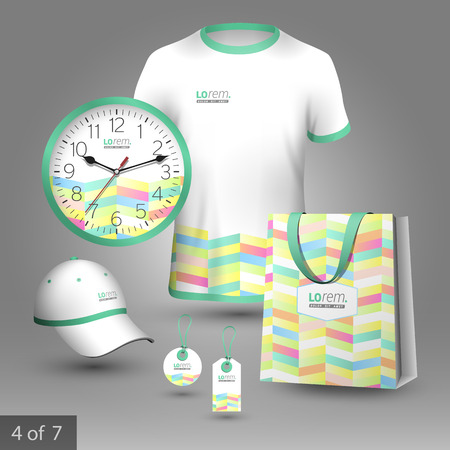 souvenirs: Color promotional souvenirs design for corporate identity with geometric pattern. Stationery set
