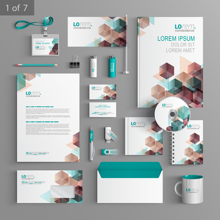 stationery: White corporate identity template design with color geometric pattern. Business stationery