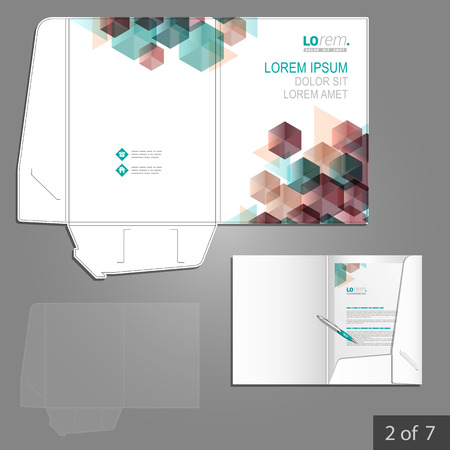 folder: White folder template design for corporate identity with color geometric pattern. Stationery set