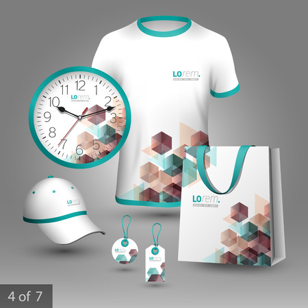 white shirt: White promotional souvenirs design for corporate identity with color geometric pattern. Stationery set