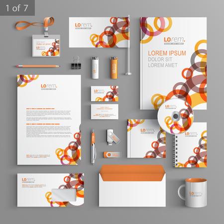빨간색과 오렌지 기하학적 요소와 흰색 기업의 정체성 템플릿 디자인 라운드 요소. 비즈니스 문구
