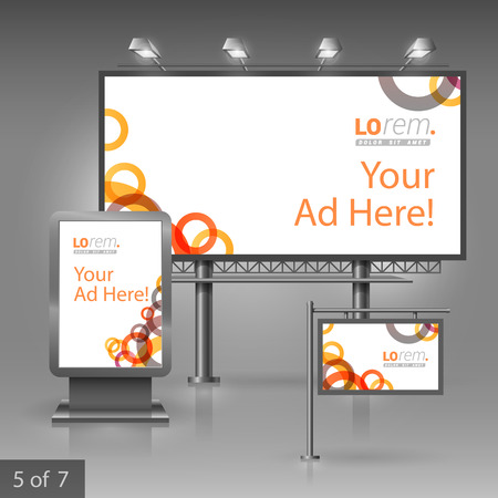 pattern corporate identity orange: White outdoor advertising design for corporate identity with red and orange geometric round elements. Stationery set Illustration