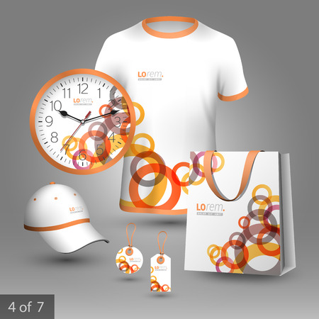 souvenirs: White promotional souvenirs design for corporate identity with red and orange geometric round elements. Stationery set