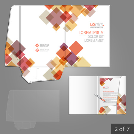 corporate identity template: White folder template design for corporate identity with red and purple geometric elements. Stationery set Illustration