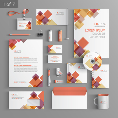 White corporate identity template design with red and purple geometric elements. Business stationery Vettoriali