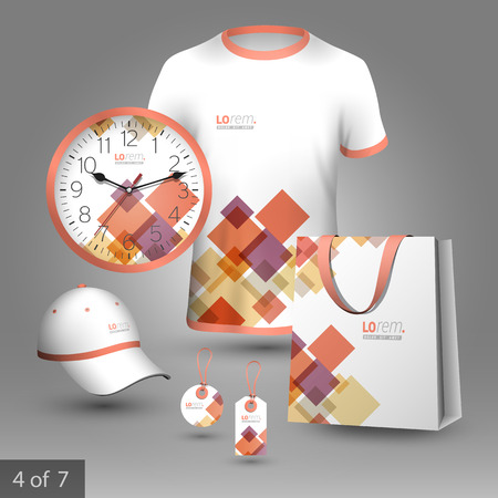 White promotional souvenirs design for corporate identity with red and purple geometric elements. Stationery set