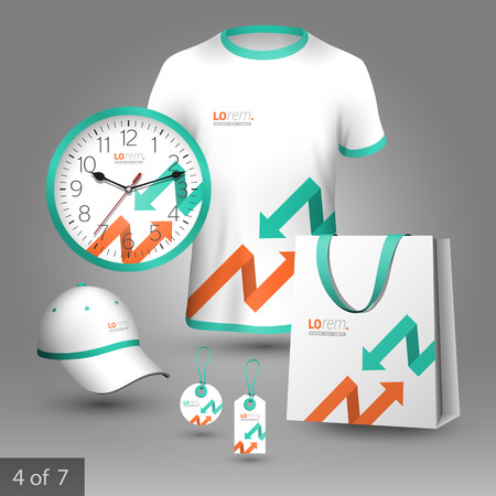 souvenirs: White promotional souvenirs design for corporate identity with red and green arrows. Stationery set