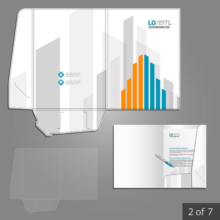 corporate buildings: White folder template design for corporate identity with orange and blue building elements. Stationery set