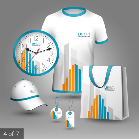 souvenirs: White promotional souvenirs design for corporate identity with orange and blue building elements. Stationery set